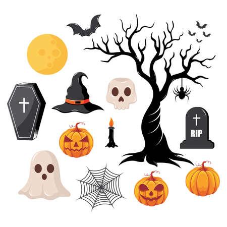 Halloween elements vector 向量圖像