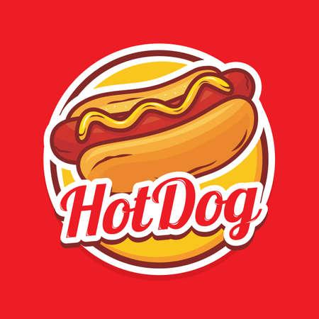Hotdog logo design with illustration of hotdog