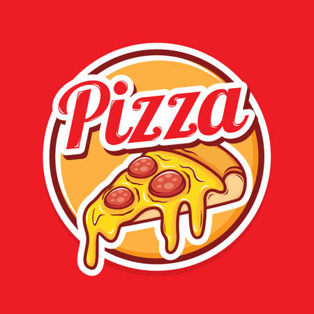 Pizza logo design with illustration of cheese pizza