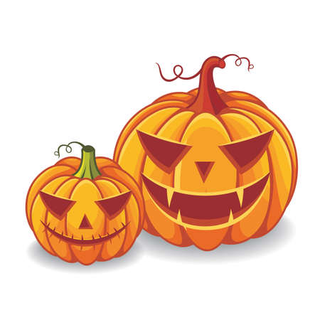 Two halloween pumpkins with scary faces expression