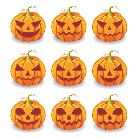 Halloween pumpkin illustration with scary face expression