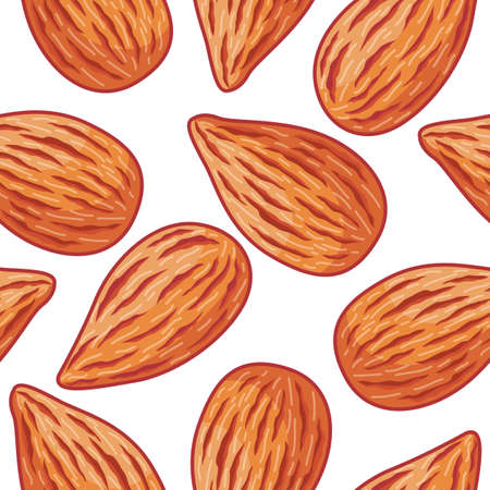 Almond repeatable pattern isolated on white background Иллюстрация
