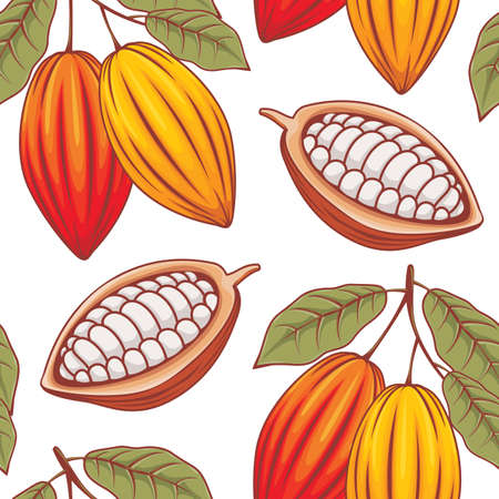 Cocoa repeatable pattern isolated on white background