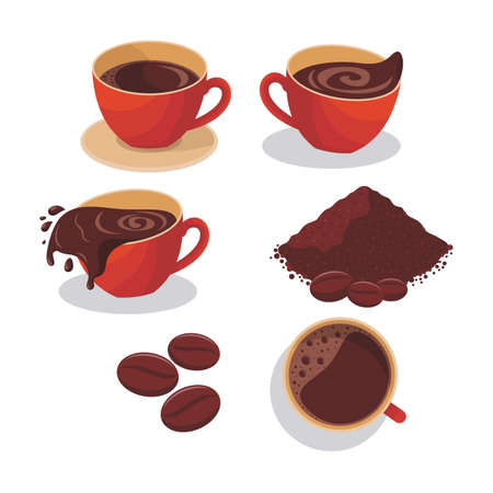 Illustration of a coffee in red mug, coffee from top, coffee powder, coffee beans and spilled coffee