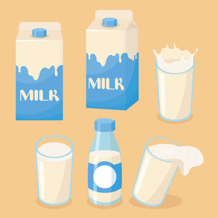 Illustration of milk on a glass, bottle and packaging box with spilled milk