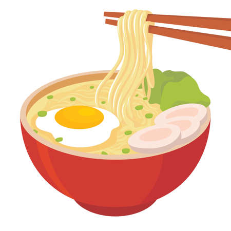 Illustration of noodle soup with egg, meat, and mustard greens with noodles grabbed with chopsticks in a red bowl Иллюстрация