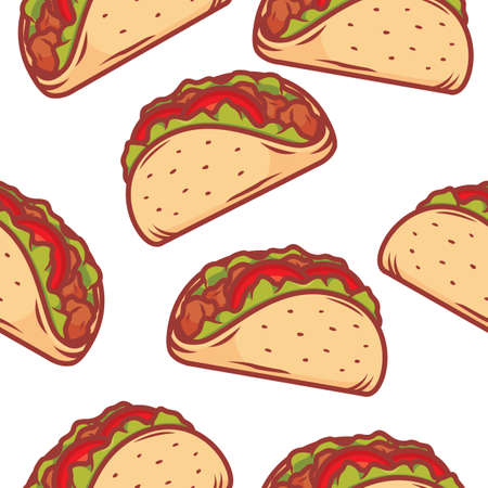 Tacos illustration repeatble pattern isolated on white background