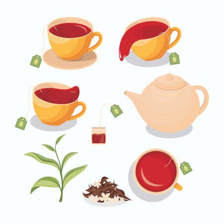 Illustration of tea in a cup, spilled tea, tea bag, teapot, green tea leaves, and dry tea with jasmine