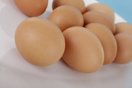 backing: Brown eggs Stock Photo