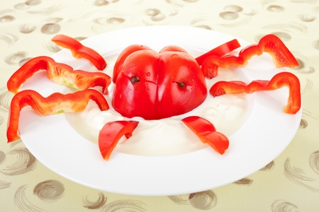 funny food: Funny food for children, red pepper lobster with dip Stock Photo