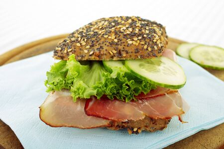 Rustic Black Forest Ham Sandwich with Lettuce and cucumber  Stock Photo