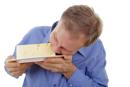 Man eating edammer cheese  Banque d'images