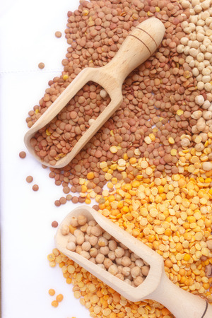 nutricion: Mix of bean,  pea and chickpeas. Stock Photo