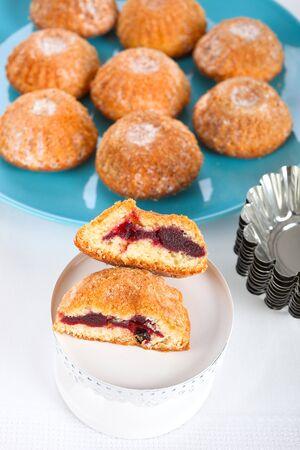 tarts: Sweet tarts filled with wild berry jam. Stock Photo