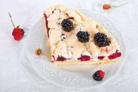 meringue: Blackberry meringue cake Stock Photo