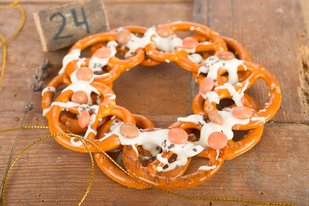 pretzel: Pretzel wreath Stock Photo