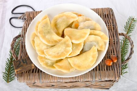 Polish pierogi with poppy seeds.