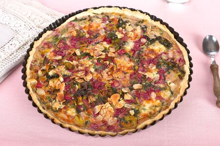leeks: Baked chard tart with leeks and almond.