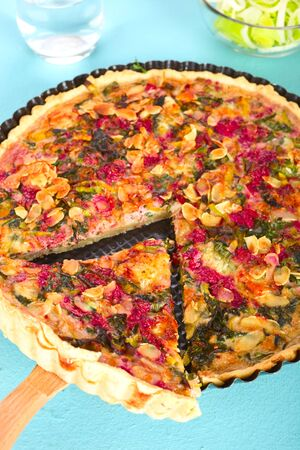 leeks: Chard tart with leeks and almond.