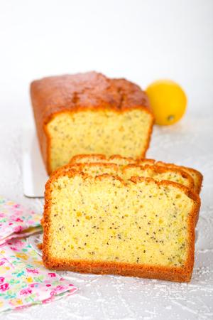 pound cake: Homemade Lemon-Poppy Pound Cake Stock Photo
