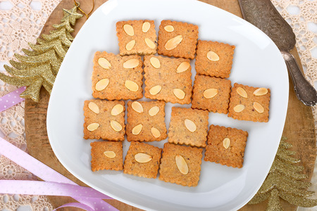 pepernoot: Speculoos cookies with almond. Stock Photo
