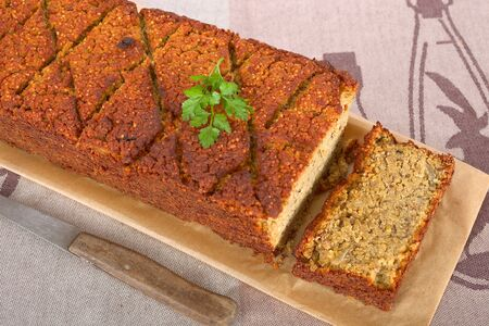 Vegetarian meat loaf with lentils Stock Photo