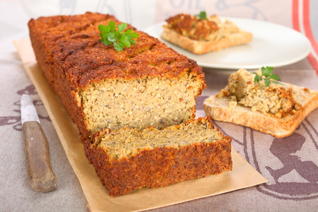 meat loaf: Vegetarian meat loaf with lentils, nuts and quinoa. Stock Photo