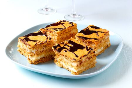 honey cake: Homemade layer honey cake with chocolate.