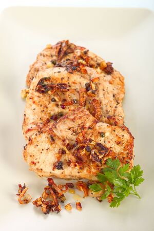 marinated: Marinated pork steak with spices Stock Photo