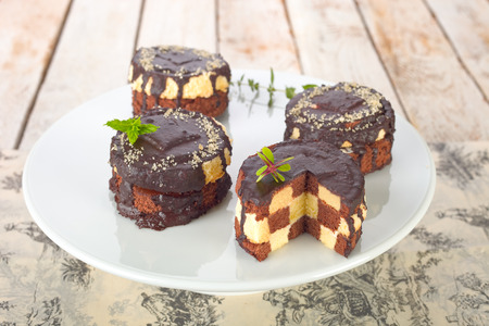 Chocolate Checkerboard Cakes.