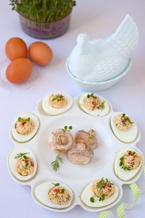 champignons: Hard-boiled eggs cut in half and filled with  champignons.