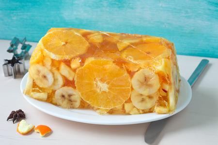 Pudding fruit cake dessert Stock Photo