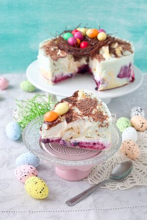 Chocolate easter egg nest pancake cake