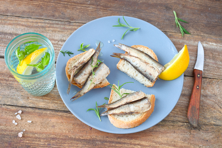 Bread with sprats