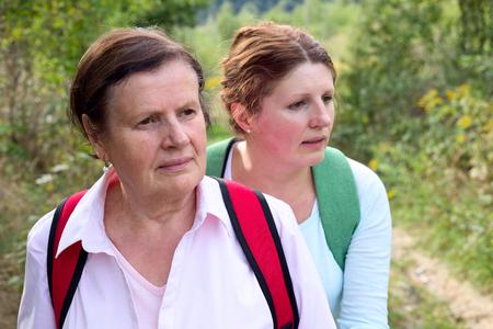 Two  tourist hiker women