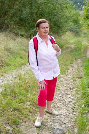 Senior female hiker Stock Photo