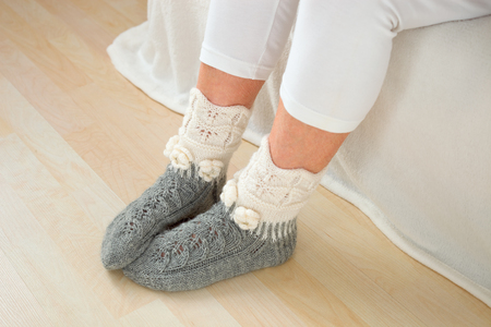 Legs of warm woolen socks Banque d'images
