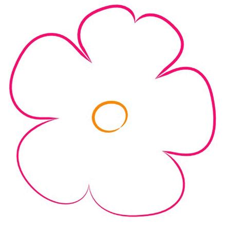 Small Magenta Flower with Orange Center Outline