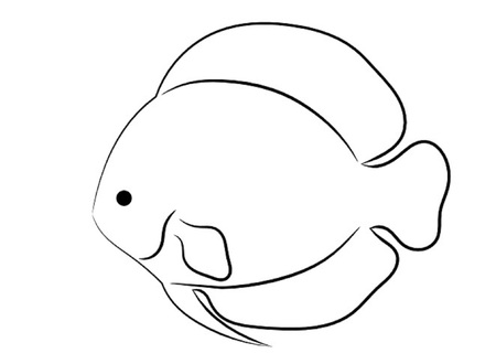 Rounded Tropical Fish Simple Outline Isolated on White Background Ilustrace