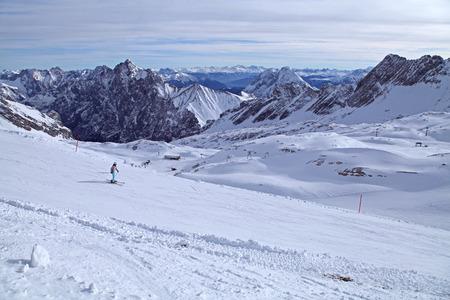 zugspitze alps mountain snow ski in winter blue sky landscape garmisch germany