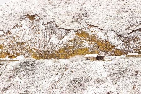 Mountain way in Winter to Jiuzhaigou National Park, Sichuan, China.