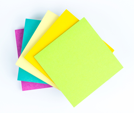 Stack of Notepad isolated on white background, top view. Stock Photo