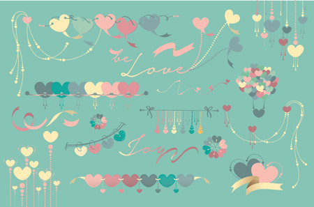 Colorful love shape flag and creative design Vector
