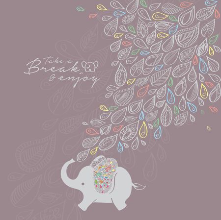 Cartoon Elephant with Flower Background Vector