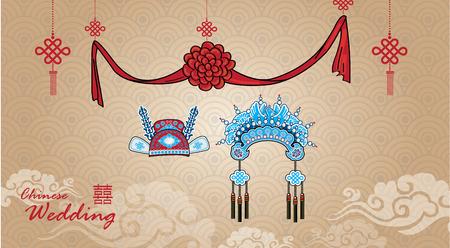 Tradicional Corona boda chino para la pareja en la ceremonia de la boda