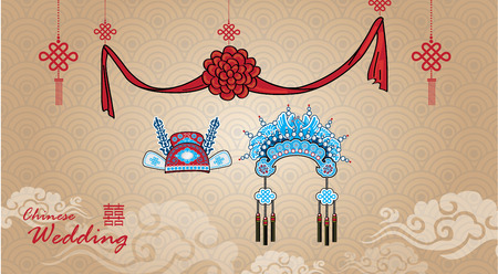 asian wedding couple: Traditional Chinese Wedding Crown for couple in wedding ceremony Illustration
