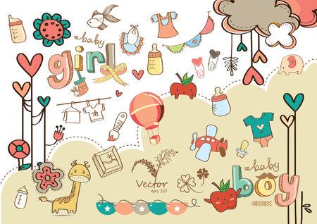 girl illustration: Muchacho y ni�a Ilustraci�n linda