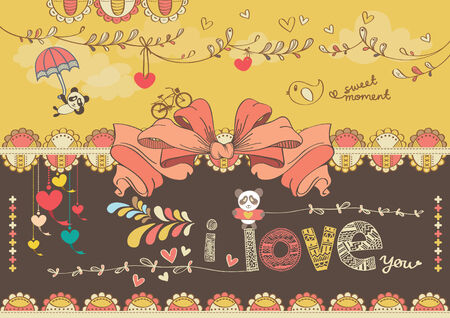 Cute Colorful Cartoon Drawing With Decorative Flag Banner Vector