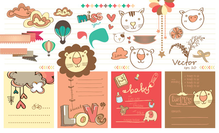 Cute Cartoon Memo Paper Vector