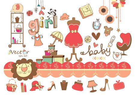Cute Cartoon Drawing Of Girl Fashion Stuff Vector